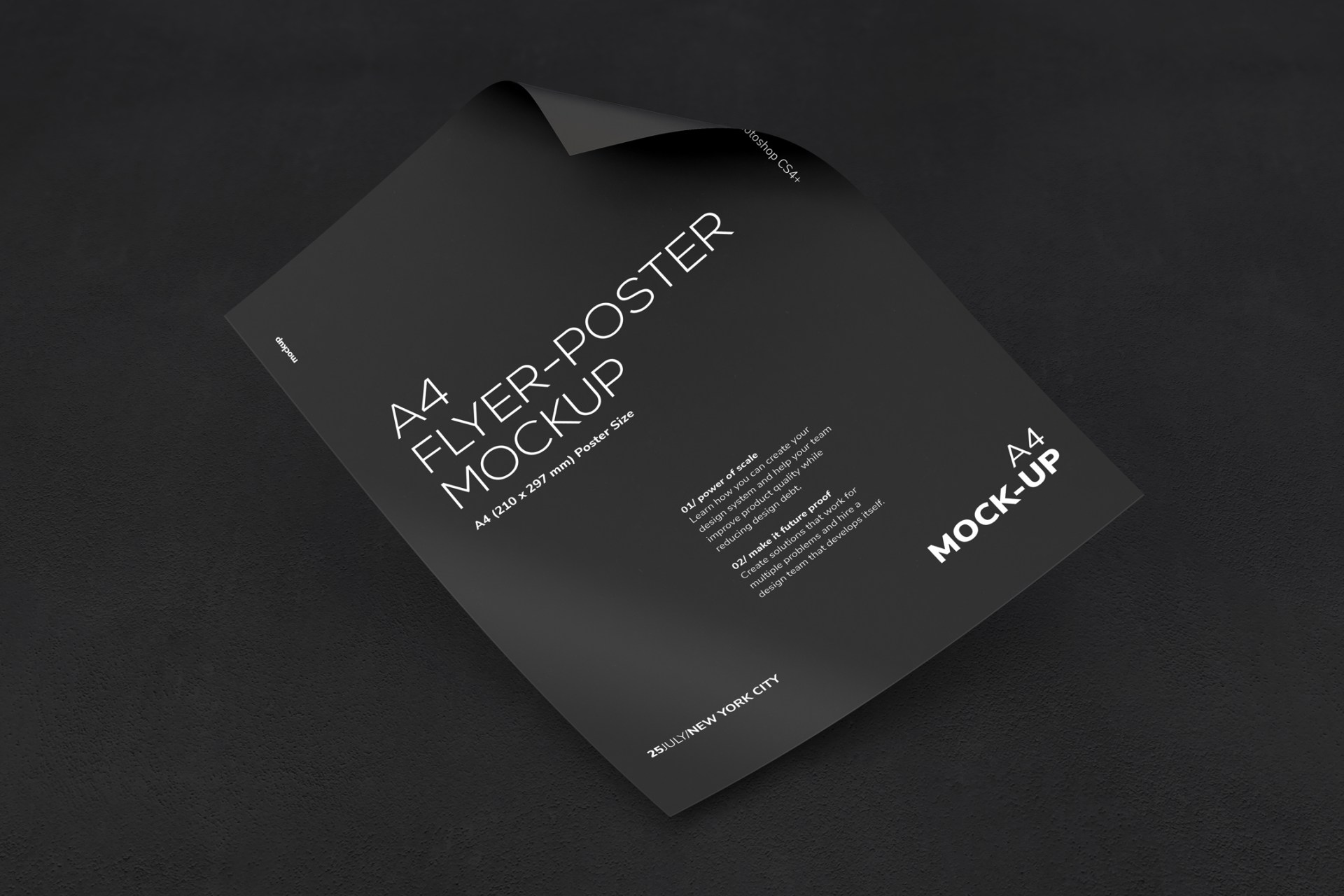Curled A4 Flyer-Poster Mockup 01