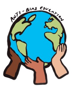 Anti-Bias Education graphic showing three hands of different skin colors holding up the earth together