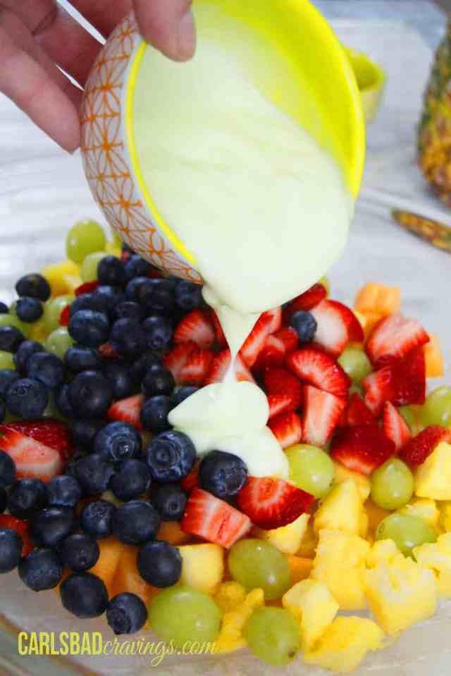 Creamy Fruit Salad with Key Lime Yogurt Dressing
