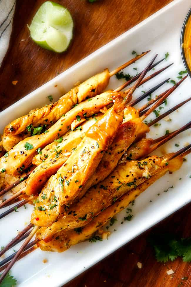 Baked Or Grilled Thai Chicken Satay With Peanut Sauce