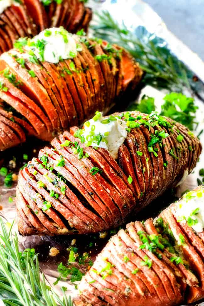 Hasselback Sweet Potatoes with Garlic Herb Butter (and