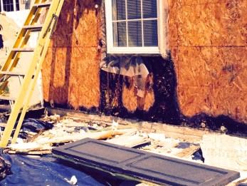 large portions of osb rotting around window where dryvit failed