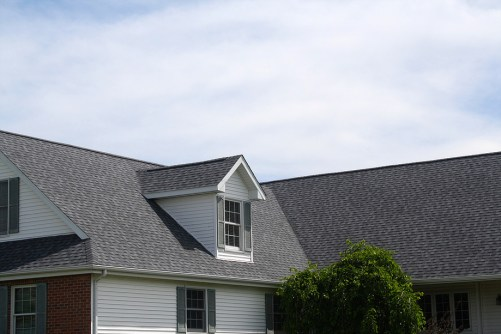 colonial house with grey roof