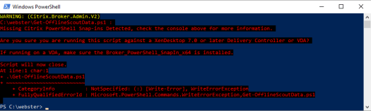 Figure 3 - Running the script on a Windows 10 VDA without the Broker PowerShell snapin installed