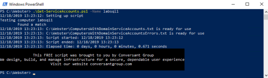 Figure 4 (.\Get-ServiceAccounts.ps1 -Name labsql1)