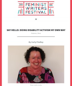 Feminist writers festival article header featuring carly Findlay