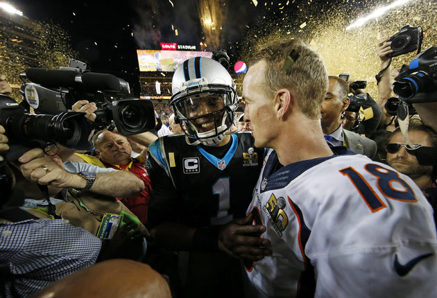 SANTA CLARA, CA - FEBRUARY 07: Cam Newton #1 of the Carolina Panthers talks with Peyton Manning #18 of the Denver Broncos after Super Bowl 50 at Levi's Stadium on February 7, 2016 in Santa Clara, California. The Broncos defeated the Panthers 24-10. (Photo by Ezra Shaw/Getty Images)