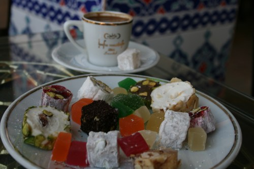 Sampling all kinds of Turkish delight with a Turkish coffee on the side!