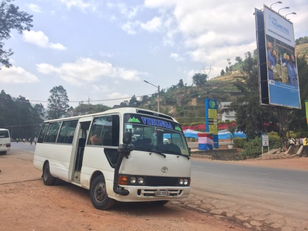 Mini-buses like this are the best way to travel around Rwanda