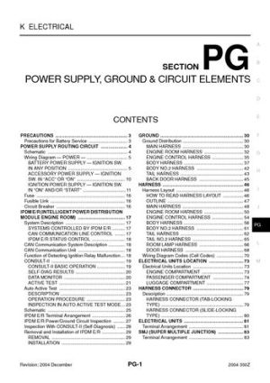 Download 2004 Nissan 350Z  Power Supply, Ground & Circuit Elements (Section PG) PDF Manual (88