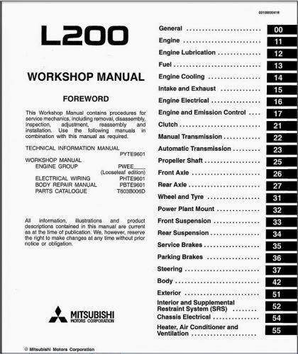 mitsubishi l200 pdf workshop manuals free download