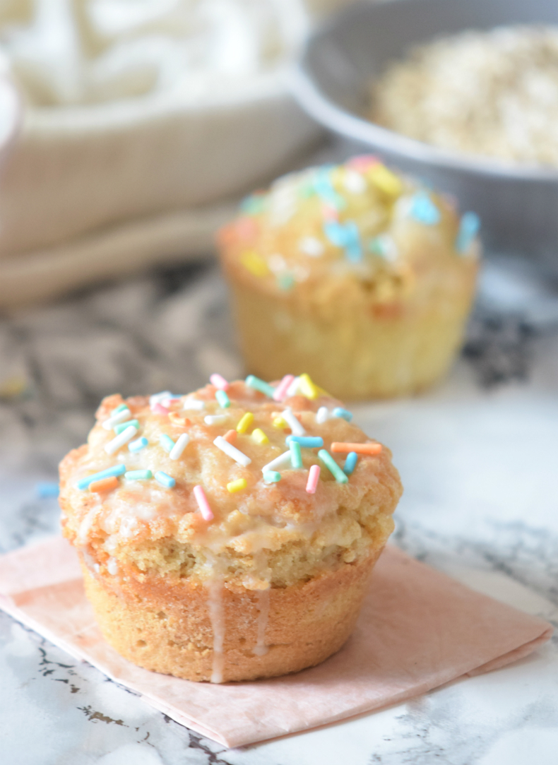 Donut Muffins glazed with Sprinkles