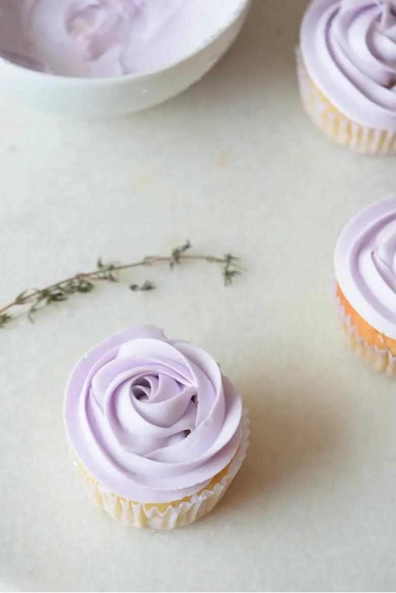 Lavender Cupcakes with Fluffy Lavender Frosting   carmelapop.com