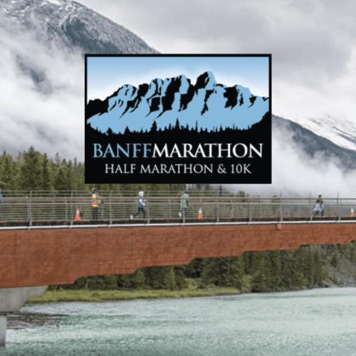 logo and background of banff marathon