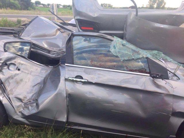 El auto accidentado en Paso Antolín este miércoles 25 de enero.