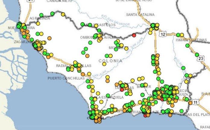 El Mapa departamental de los siniestros de tránsito.