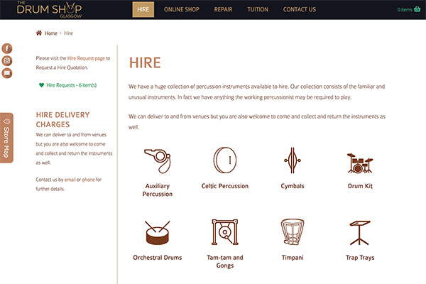 Drum Shop Glasgow, eCommerce site