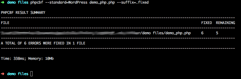 Example output of PHPCBF with suffix.