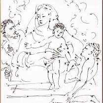 Sagrada Familia dibujo marco dorado [CP]