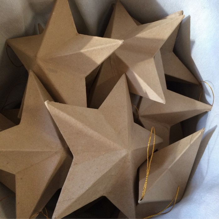 "8"" paper mache star double sided"