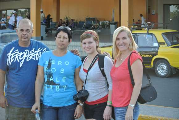Family at the Havana Airport in Cuba