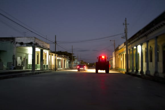 The darkness of the streets of Placetas, Cuba