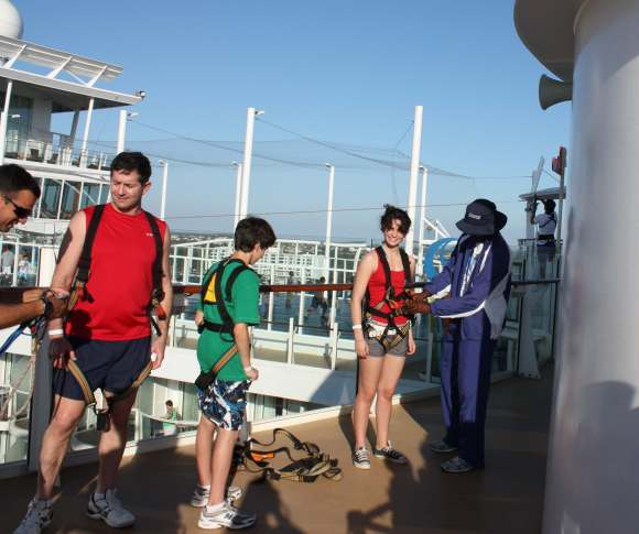 Getting ready for the zip line on the Oasis of the Seas