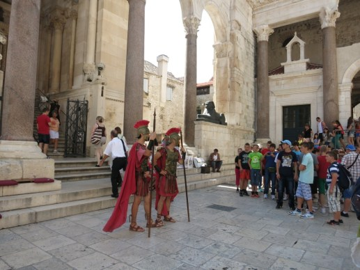 Roman warriors at Diocletian's Palace in Split