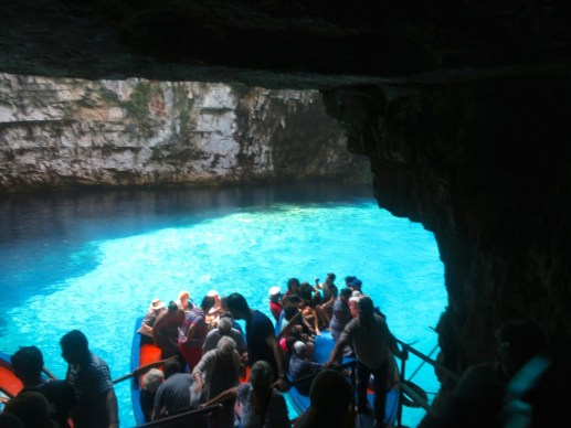 Visitors boarding the row boats at Melissani Lake, Kefalonia Greee