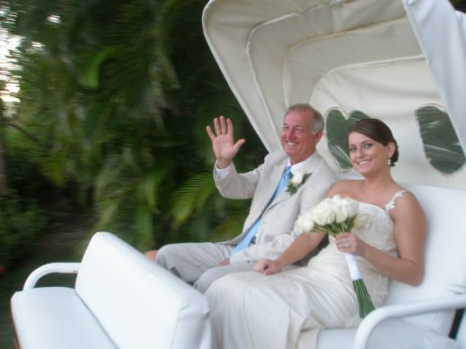 Father of the Bride and Bride on a Horse-Drawn Carriage at Excellence Punta Cana