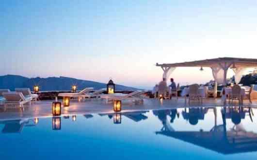 Canaves Oia Hotel Pool Area, Santorini Greece