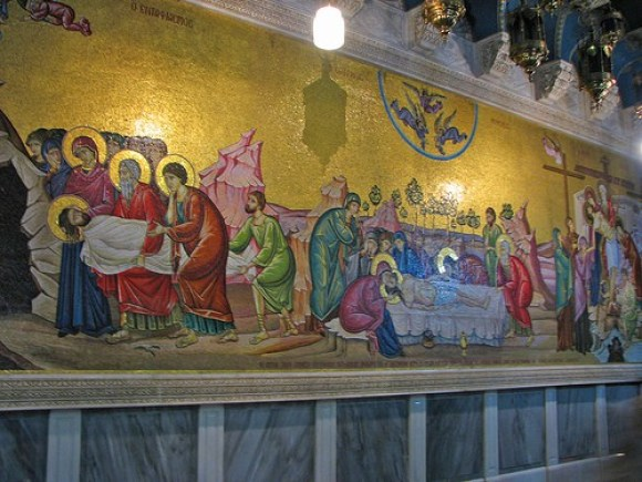 Mosaic behind the Stone of An Holy Sepulchre, Church of the Holy Sepulchre
