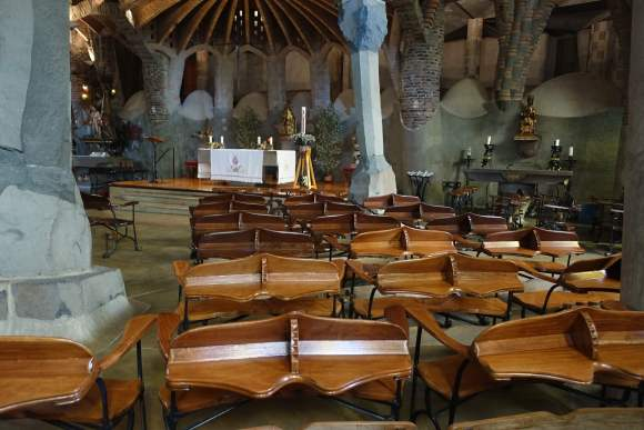 Gaudi's Cryst Ergonomic Benches facing the altar - Colonial Guell