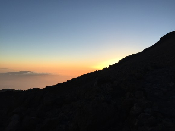 Sunset in the background on top of Mount Teide