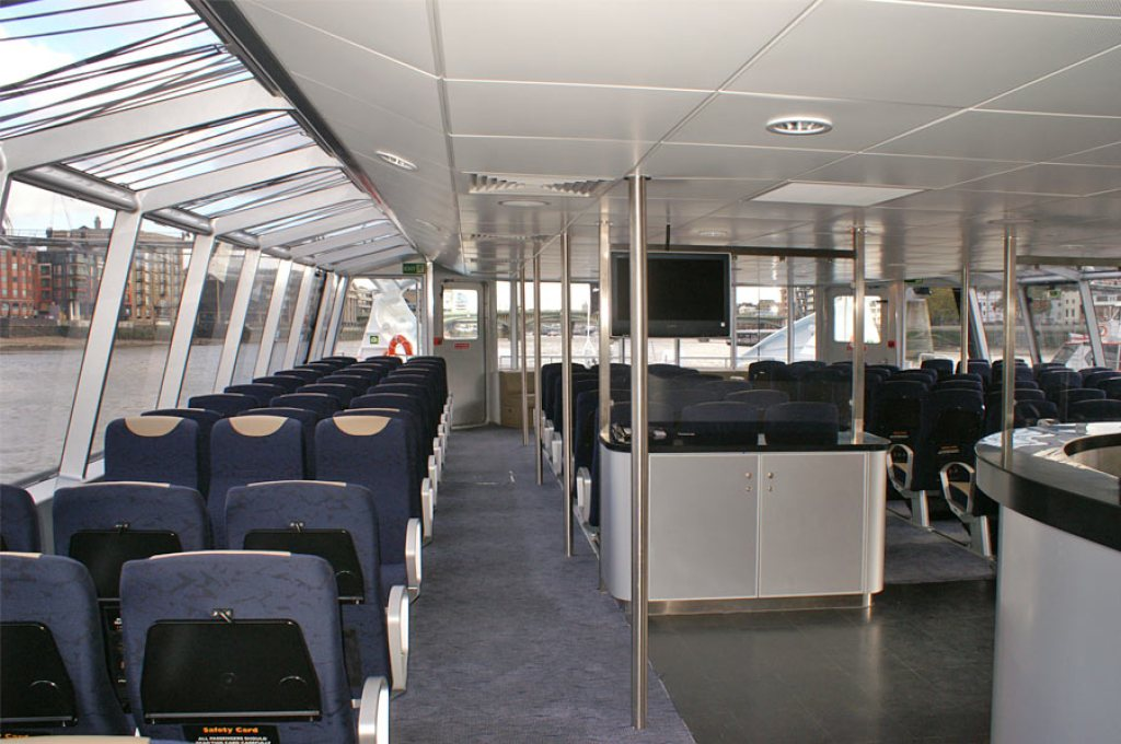 Inside the Thames Clipper river bus with comfortable seating