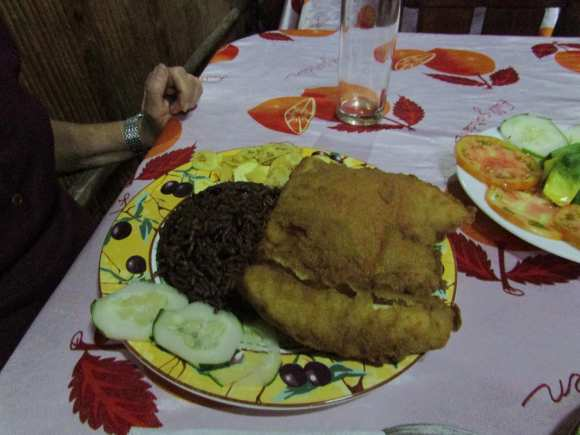 Fried Fish with Cuban rice and black beans at El Ranchon