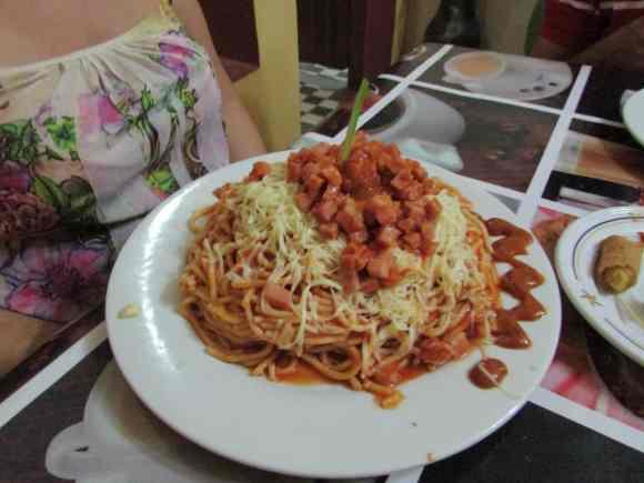 Spaghetti dish at La Meson in Placetas