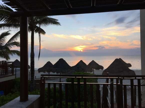 Oceanfront Casita balcony view of sunset - Fairmont Mayakoba
