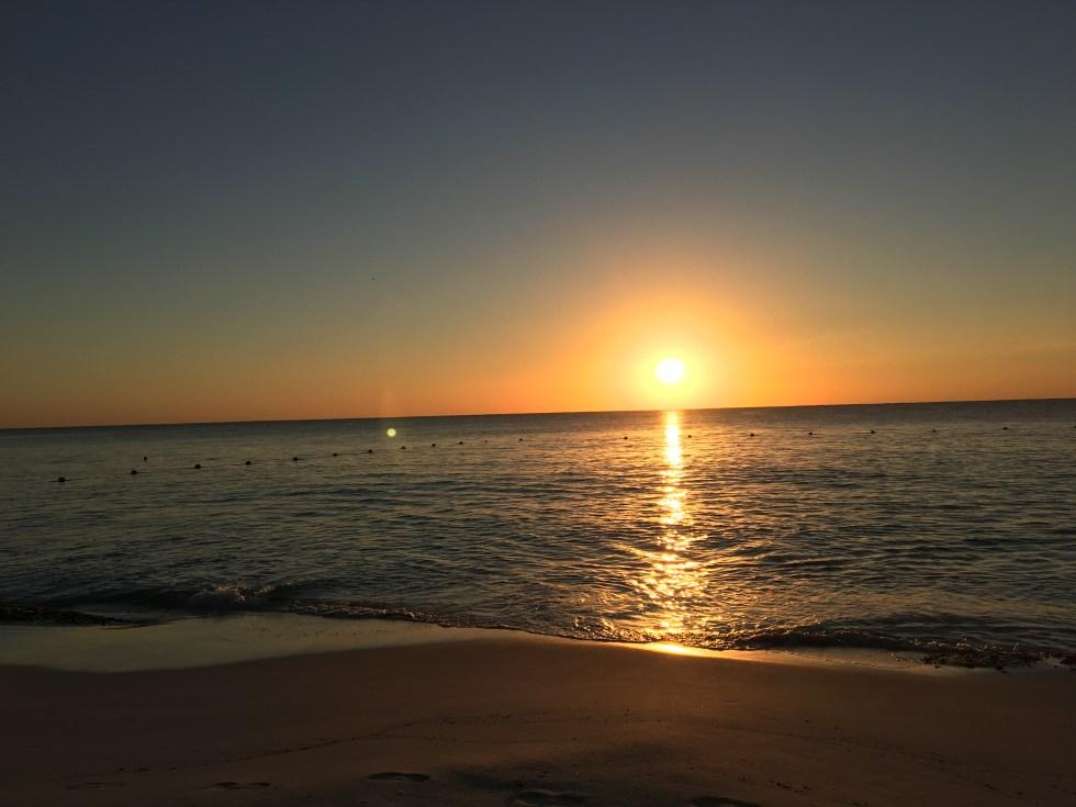 Sunset off the beach of the Fairmont Mayakoba