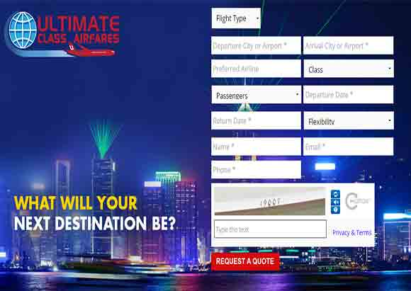 Ultimate Class Airlines Homepage (Image Source Ultimate Class Airfares)