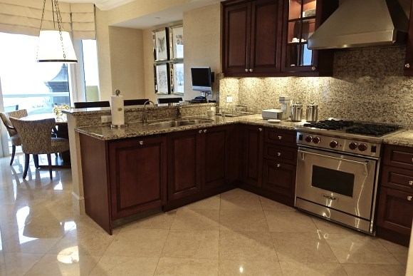 Full Kitchen in the One Bedroom Ocean Front Suite at Acqualina Resort
