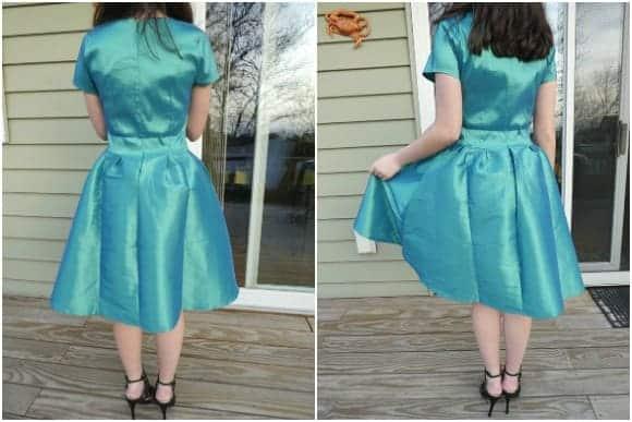Modeling the Short Sleeve Nutcracker Dress in Green