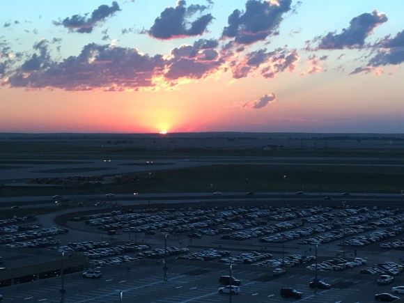 Sunrise over the Denver International Airport runway from my Junior Suite at the Westin DIA
