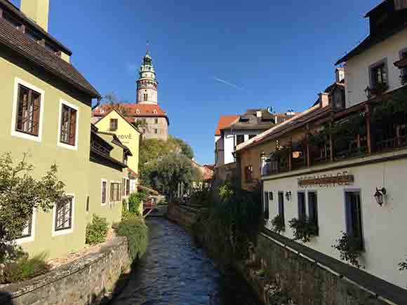 Cesky Krumlov town Vltava River