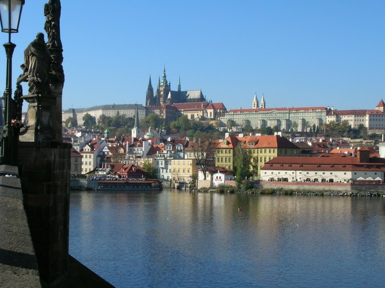 Prague Castle on the hillside in the distance