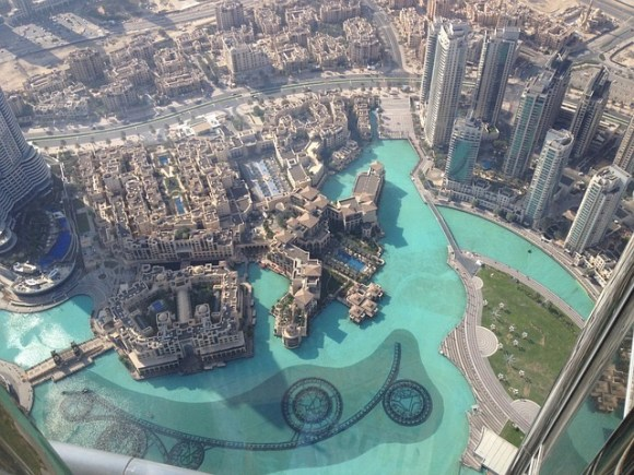 The view of the fountains below from the 148th floor of the Burj Khalifa