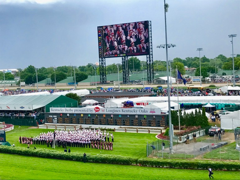 The band playing on the field of the 143rd Kentucky Derby