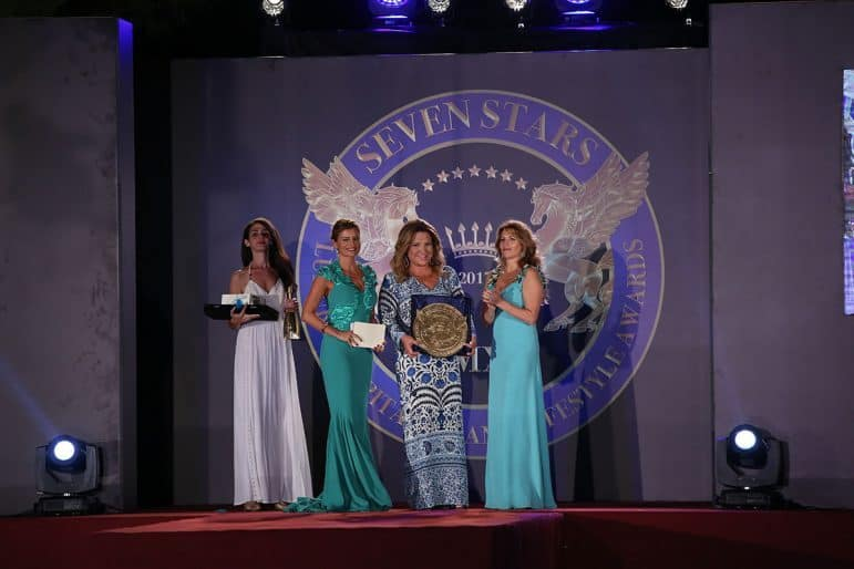 Her Royal Highness Nathalie Princess of Hohenzollern presenting the award to Despina Miraraki