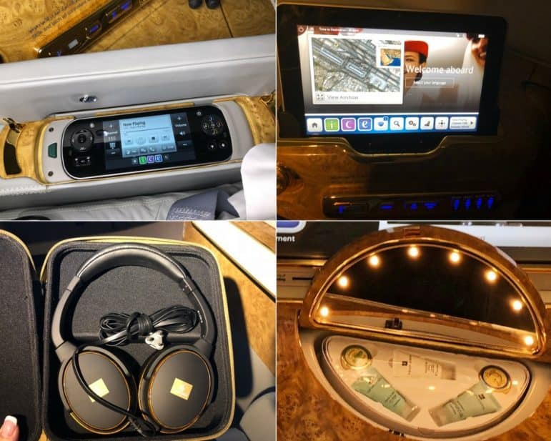 Emirates First Class - Headsets, Controls, and Vanity Mirror