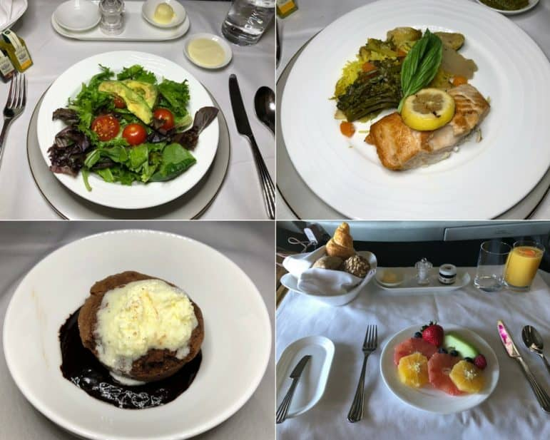 Emirates First Class Dinner and Breakfast Selections